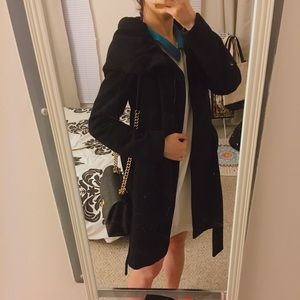 Zara Jackets & Coats - Zara Classic Black Long Coat With Belt